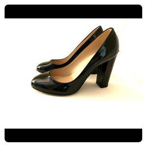 J Crew Black Patent Block Heel Pumps Size 7